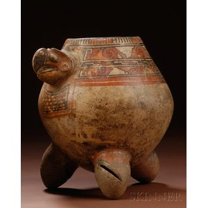 Pre-Columbian Painted Pottery Turtle Urn