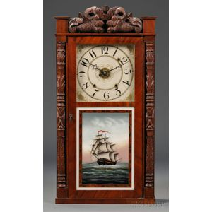 Classical Carved Mahogany and Mahogany Veneer Shelf Clock