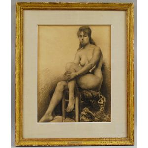 Ralph Wormeley Curtis  (American, 1854-1922)      Nude - Knee in Hand