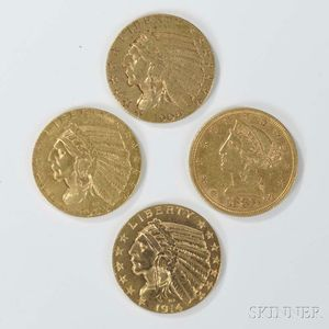 Four $5 Liberty and Indian Head Gold Coins
