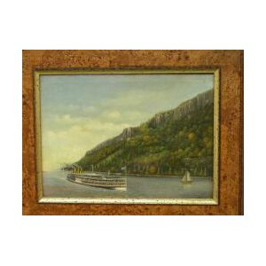 Framed Oil of a Steamer Ship Washington