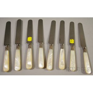 Set of Eight Tiffany & Co. Mother-of-pearl-handled Dinner Knives.     Estimate $150-200