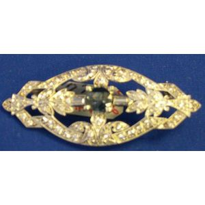 Platinum and Diamond Brooch, Center Sapphire.