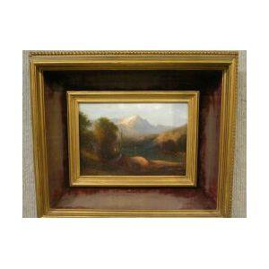 Framed Oil Lake Scene