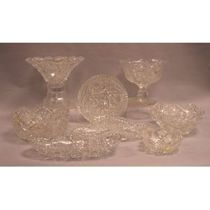 Eight Pieces of Colorless Cut Glass