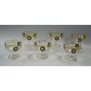Set of Six Gilt and Enamel Decorated Colorless Glass Footed Bowls.