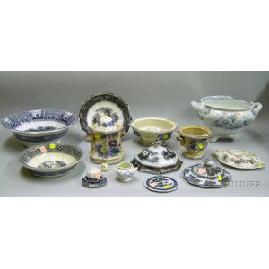 Fourteen Pieces of Mulberry Transfer Staffordshire Tableware