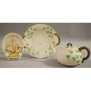 Three Belleek Porcelain Shamrock Items and a Collector's
