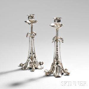 Pair of German Art Nouveau .800 Silver Candlesticks