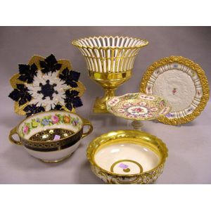 Seven German, French, and Asian Gilt and Floral Decorated Porcelain Table Items.