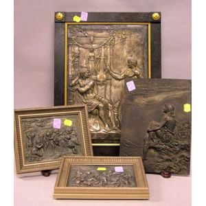 Four Continental Cast and Pressed Metal Plaques Depicting Classical Scenes