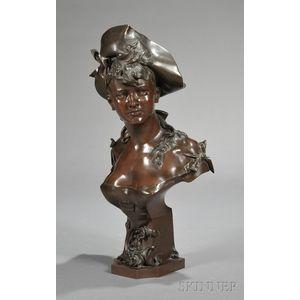 Anton Nelson (Austrian, ac. 1880-1910)      Bronze Bust of a Maiden