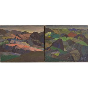 Leighton Cram (American, 1895-1981)      Two Landscapes of Rolling Hills and Mountains.
