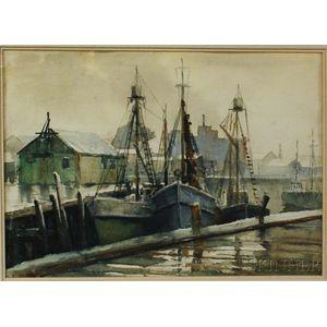 Framed Tschainber Watercolor Dock Scene