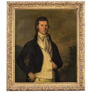 Jose Francisco Xavier de Salazar y Mendoza (Louisiana/Mexico, 1750-1802)      Portrait of a Gentleman in a Striped Vest