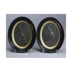 Pair of Wedgwood Black Basalt Oval Plaques