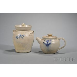 Jugtown Cobalt Decorated Stoneware Pottery Covered Crock and Teapot