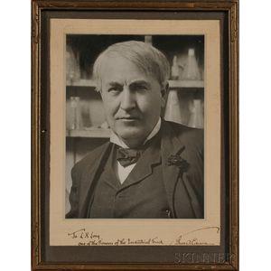 Edison, Thomas Alva (1847-1931) Signed Black and White Photographic Portrait.