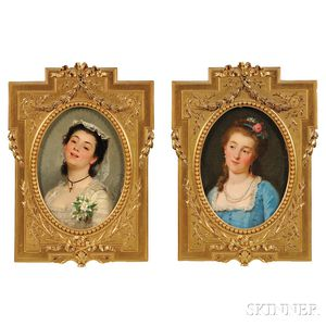 Joseph Caraud (French, 1821-1905)      Two Bust-length Portraits of Elegant Young Women: Woman in Blue