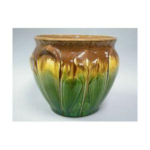 Majolica Glazed Pottery Jardiniere and Pedestal.