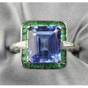 Platinum, Sapphire, Emerald, and Diamond Ring
