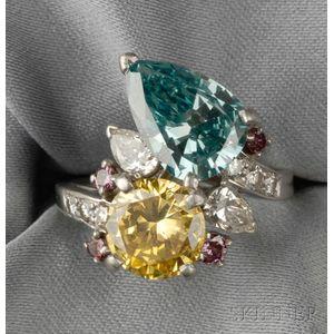 Platinum, Color-treated Diamond, and Diamond Ring