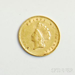 1855 One Dollar Gold Coin.     Estimate $300-500