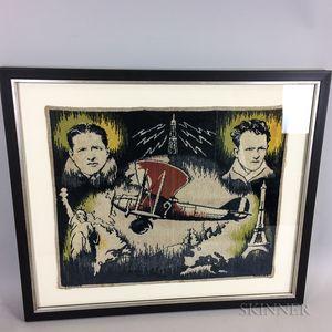Framed Lindbergh and Nungesser Aviation Tapestry