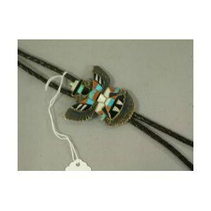 Zuni Inlaid Silver Bolo Tie.