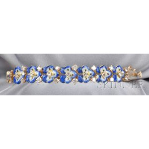 14kt Gold, Enamel, and Diamond Pansy Bangle Bracelet