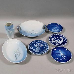 Seven Danish Decorated Porcelain Items
