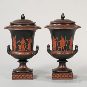 Pair of Wedgwood Encaustic Decorated Krater Vases and Covers