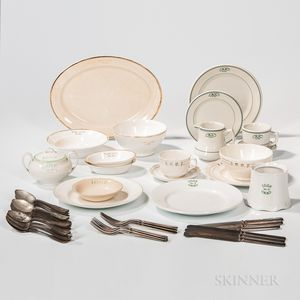 Nineteen Odd Fellows Lodge Dining Wares Representing Five Lodges, and Odd Fellows Knives, Forks, and Spoons