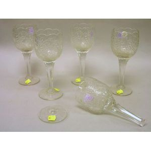 Set of Five Sandwich Colorless Pressed Glass Goblets