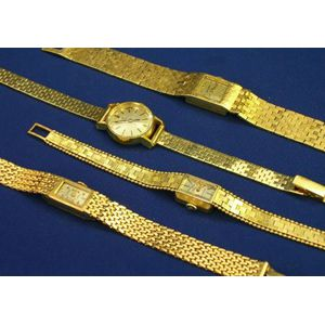 Four Women's 14kt Gold Wristwatches