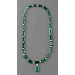 18kt White Gold, Green Tourmaline, and Diamond Necklace
