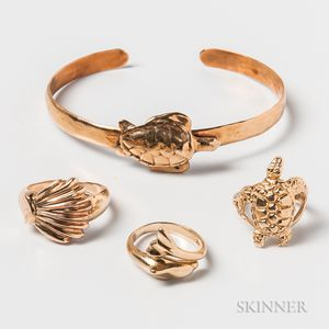 14kt Gold Turtle Bangle and Three 14kt Gold Ocean-themed Rings