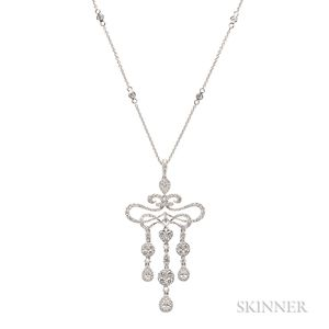 14kt White Gold and Diamond Pendant and Chain