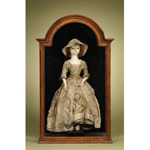 Large Queen Anne Lady Doll in Mahogany and Walnut Veneered Display Case