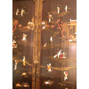 Chinese Carved Hardstone and Ivory Inlaid Lacquer Four-Panel Floor Screen.