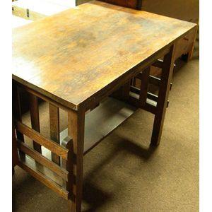 Arts & Crafts Oak Slat-Sided Library Table.