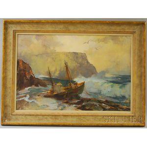 Harry Russell Ballinger (American, 1892-1993)      Fishing Boat on the Rocks.
