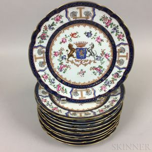 Set of Ten Chinese Export-style Armorial Porcelain Plates