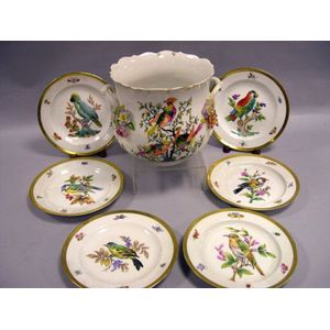 Set of Six Meissen Bird and Insect Decorated Porcelain Plates and a Hand-Painted Porcelain Pot.