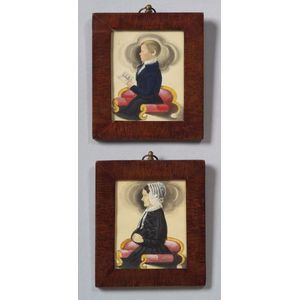 Attributed to James Sanford Ellsworth (American, 1802/03- 1874) A Pair of Miniature Portraits of Elizabeth...