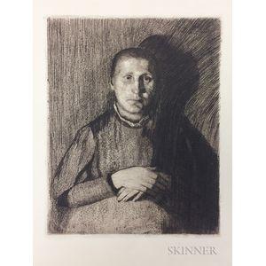 Käthe Kollwitz (German, 1867-1945)      Two Works: Selbstbildnis
