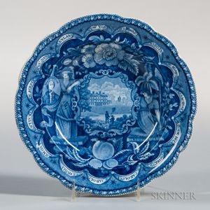 Staffordshire Historical Blue Transfer-decorated States Soup Plate