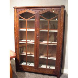 Mission Oak Two-Door Bookcase.