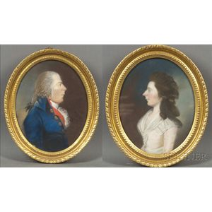 Attributed to James Sharples, Sr. (British, 1751-1811)    Pair of Portraits of a Lady and a Gentleman.