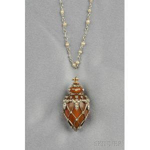 Antique Amber Pendant and Chain